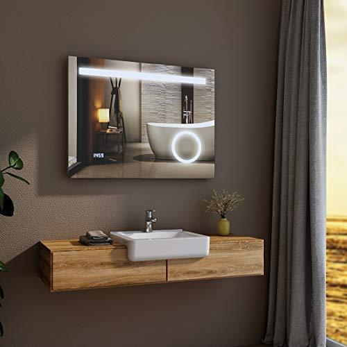 LED badkamerspiegel met verlichting 80x60x6cm badkamerspiegel met touchschakelaar en make-up spiegel [energieklasse A ] - koud wit