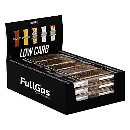 FullGas - Caja (16u) PROTEIN BAR - Low sugar - Chocolate Negro 35 g