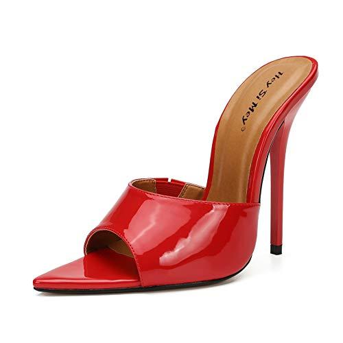 High Heels Slingback Stiletto, MWOOOK-1052 Sexy Pumps mit Lackleder für Hochzeit Party,Red,40