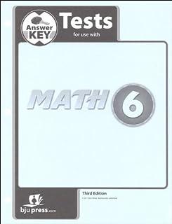 Math 6 Tests Answer Key (3rd ed.)