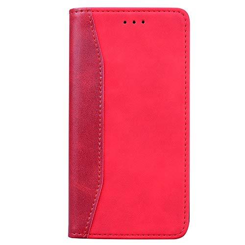 WRNM Per iPhone 7 Plus 8 Plus Case, Dual Color Cuciture Slim Pu Flip Kackstand TPU Copertura del Telefono con Portafoglio Magnetico Incorporato, Custodia per Telefono(Color:Rosso)