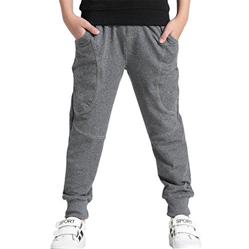 Reciy Boy 's Baumwolle Sweatpants Verstellbare Taille Jogger Hose, Alter, 160/11-12 Jahre, Gray