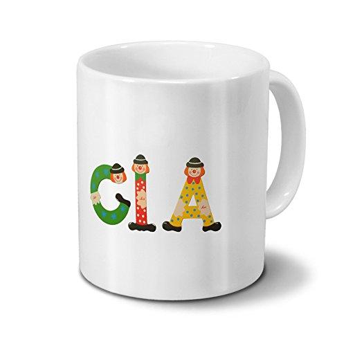 printplanet Tasse mit Namen CIA - Motiv Holzbuchstaben - Namenstasse, Kaffeebecher, Mug, Becher, Kaffeetasse - Farbe Weiß