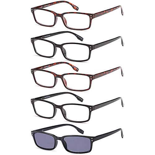 Gamma Ray Reading Glasses - 5 Readers for Men Women - w Reader Sunglasses - 4.00