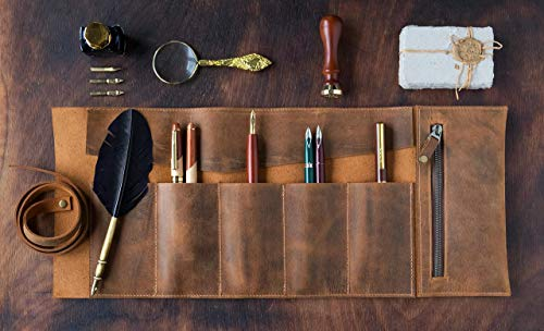 Leder Handgefertigte Mäppchen, Leder Bleistift Rollup Beutel, Füllfederhalter Fall, Braun