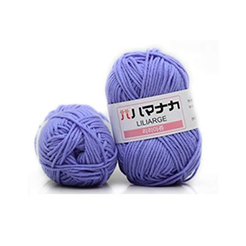 Ashley GAO Hilo de algodón de leche peinado de 4 acciones, cómodo hilo mezclado de lana, hilo de coser para ropa, tejido a mano, bufanda, hilo para sombrero