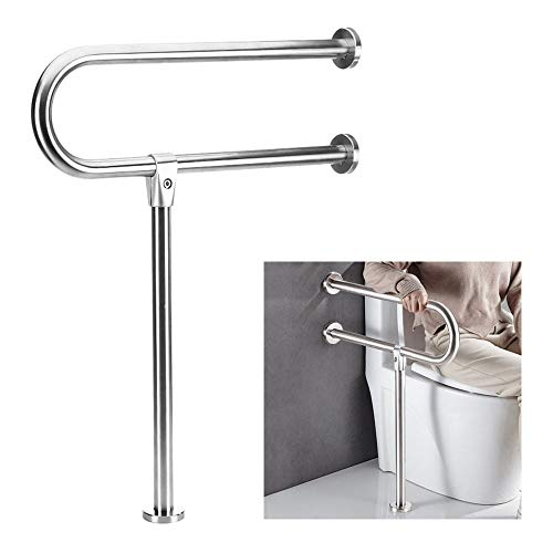 Handicap Grab Bars for Bathroom Toilet Safety Bars Showers Handicap Rails Stainless Steel Grab Bar for Disabled Elderly Bathroom Handrail Wall Mount Floor Support Assist Bar Handicapped Hand Rail