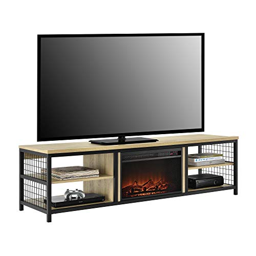 "Ameriwood Home Brookspoint TV Stand with Fireplace for TVs up to 75"", Golden Oak"