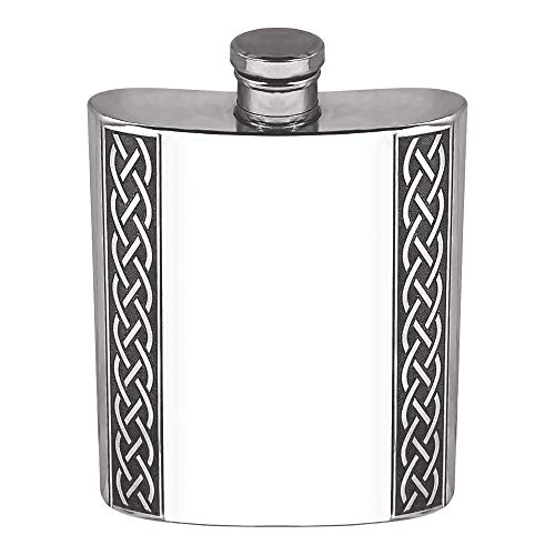 English Pewter Company 6oz Embossed Celtic Knot Design Pewter Whisky Liquor Hip Flask [CEL620]