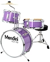 Mendini by Cecilio 13 inch 3-Piece Kids/Junior Drum Set with Throne, Cymbal, Pedal & Drumsticks, Metallic Purple, MJDS-1-PL