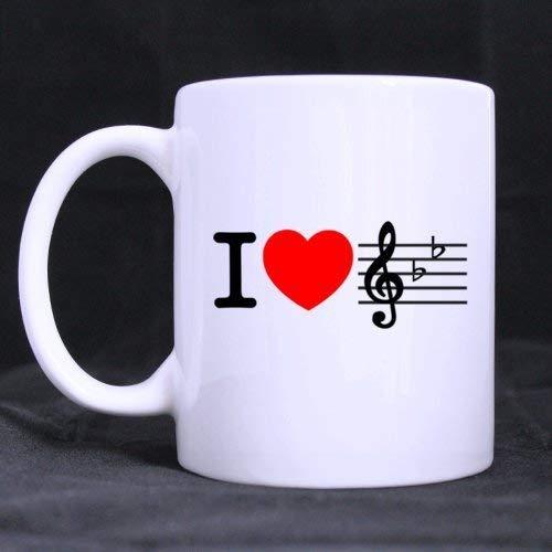 23154 Tazza da caffè da 11 once Mi piace la musica, il cuore rosso e il design della notazione musicale Unico