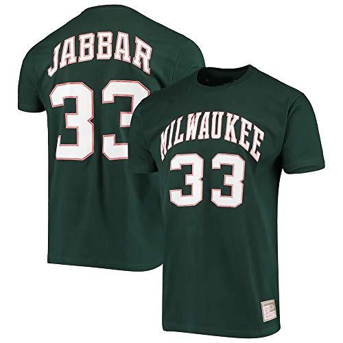 XSJY Camiseta NBA Jersey Men's Milwaukee Bucks # 33 Kareem Abdul-Jabbar Impreso Suelto Cómodo/Transpirable/Fresco Casual Algodón Camisetas Tops,Verde,XXL:180~185cm