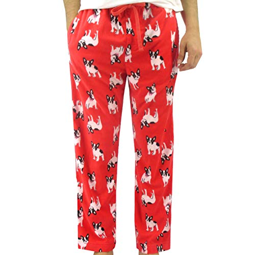 ROCK ATOLL Men's Soft Warm Fleece Animal Novelty Print Pajama Bottom Pants (XX-Large, Red French Bulldogs)
