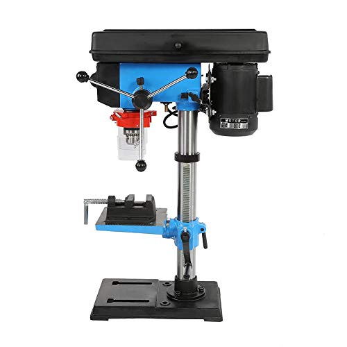 Bench Drill, Bench Pillar Drill Press & Steel Vice 550W 16mm Chuck Bench Top Mounted Blue/Black UK Plug 220V
