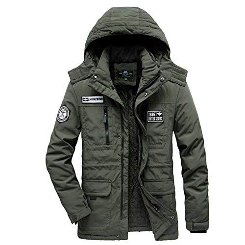 Chaqueta de Invierno de los Hombres Abrigo Caliente Espesa Militar Abrigo Negro Azul Verde Ejército Cortavientos Parka de Lana de Algodón Acolchado
