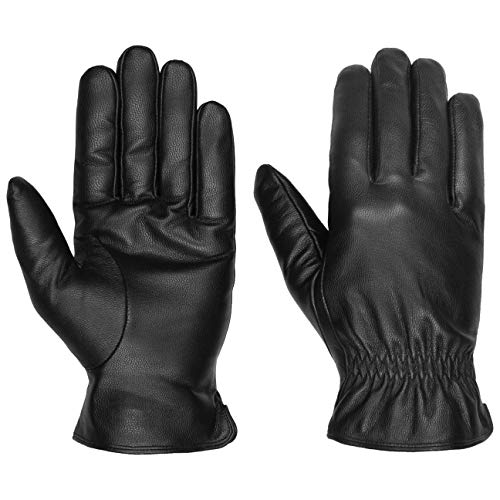 Lipodo Classic Lederhandschuhe Damen/Herren - Fingerhandschuhe aus Leder - Winterhandschuhe mit Thinsulate-Fleecefutter - Handschuhe Herbst/Winter schwarz 9 HS