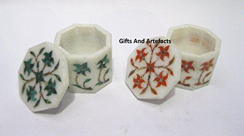 Gifts and Artefakte runde Ringschatulle Marmor Mehrzweckbox mit Malachit und Karneol Edelsteinen in eleganter Optik
