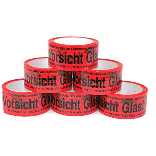 Paketband Vorsicht Glas zerbrechlich 5cm x 66m in rot (6 Rollen) - Vorsicht Glas Paketband extra stark - Klebeband mehrsprachig für fragile und zerbrechliches Glas - Paketklebeband als Rollenset