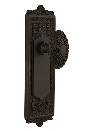 "Nostalgic Warehouse Egg & Dart Plate with Victorian Knob, Passage - 2.375"", Oil-Rubbed Bronze"