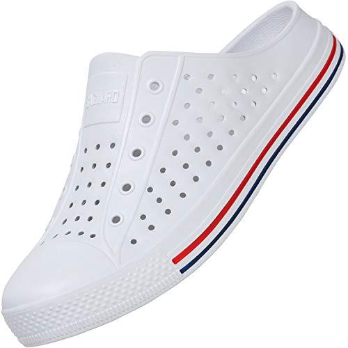 Unisex Pantuflas Secado Rápido Zapatillas de Playa Hombre Respirable Ligeros Zapatos de Baño Mujer Zuecos Antideslizantes Sandalias, Slipper Blanco 43 EU