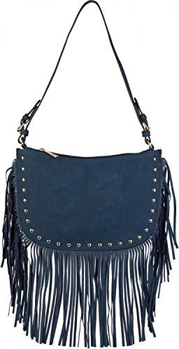 styleBREAKER Bolso de Bandolera con Flecos y Remaches Dorados de bisutería, Bolso de Hombro, Bolso, de señora 02012109, Color:Azul Oscuro