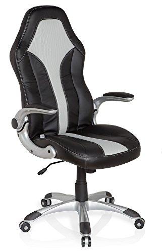 hjh OFFICE 621780 Drehstuhl Racer 400 Kunstleder Schwarz/Grau Gaming Stuhl Bürostuhl, Armlehnen klappbar, höhenverstellbar