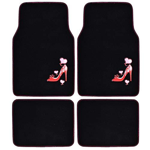 BDK Universal Fit 4-Piece Design Carpet Floor Mat Set - (Love Heel) (Licensed Products, Secure Backing) - MT-521