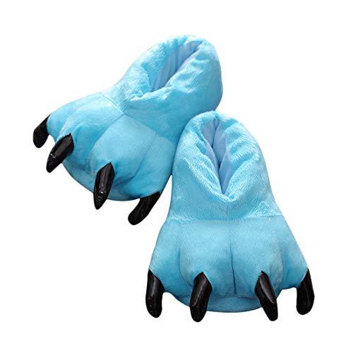 DEBAIJIA Zapatos Zapatillas Adulto Niño Garras de Animal Traje de Disfraz Pata para Carnaval Halloween de Felpa Suave Algodón Slippers Unisex de Otono Invierno Espesar Calido Azul EU17-32