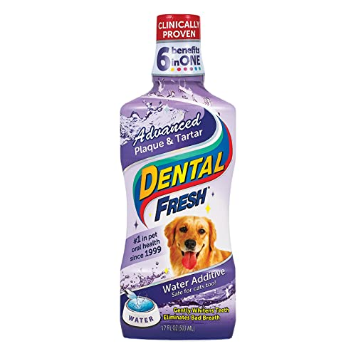 Dental Fresh Advanced Plaque and Tartar Water Additive for Dogs, 17 oz...