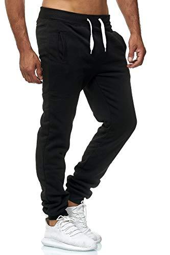 EGOMAXX Herren Jogging Hose Fit & Home Sweat Pants leichte Sporthose Vers.1, Farben:Schwarz, Größe Hosen:M