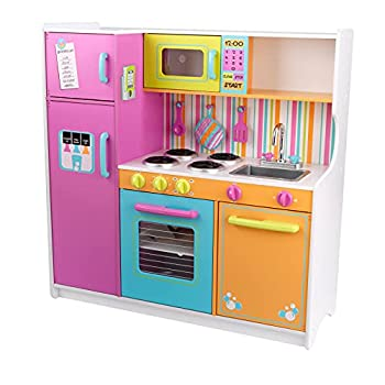 KidKraft Deluxe Big and Bright Wooden Play Kitchen with Play Phone Click & Turn Knobs and Neon Colors ,Gift for Ages 3+ Multi ,40.75  x 26.75  x 36.25