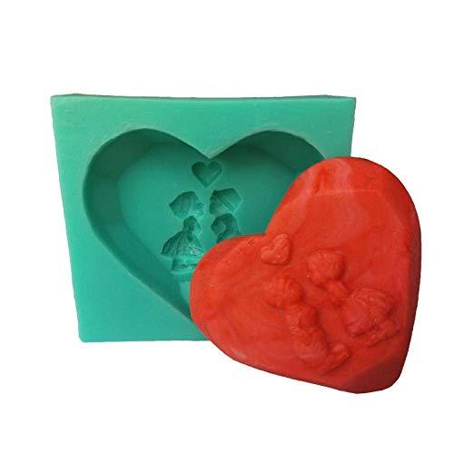 Molde de silicona con diseño de chico y niña, ideal como regalo de Navidad