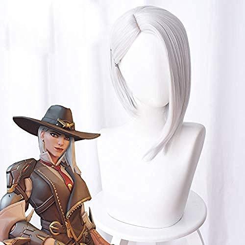 Overwatch Ashe Cosplay peluca 30cm corto recto resistente al calor pelo sinttico OW juego peluca plata-blanco disfraz fiesta peluca