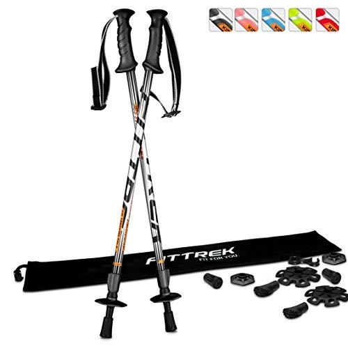 FitTrek Wanderstöcke - Trekkingstöcke Teleskop - Walking Stöcke Verstellbar - Nordic Walking Stock Leicht für Kinder Herren Damen, mit Gummipuffer Pads und Tasche