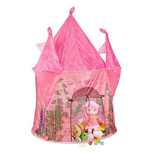 Relaxdays Spielzelt Mädchen, Kinderspielzelt Prinzessin Schloss, Spielhöhle drinnen & draußen, HBT: 142x102x102 cm, rosa