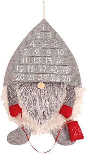 Sz ZSHENG® Weihnachten Adventskalender for Kinder, Weihnachten Santa Claus Wandkalender for Weihnachtsdekoration, Weihnachtsbaum Hängende Ornamente (Color : Light Grey)