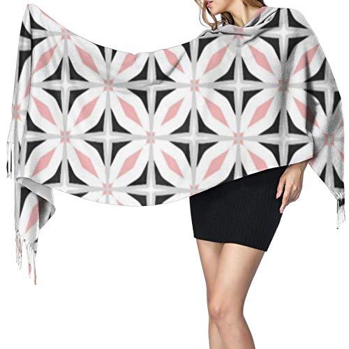 Bufandas de invierno para mujer, largo, suave, cálido, abstracto, Safari, patrón geométrico, rosa, negro, cachemir, como Pashmina, chales, chales con borlas