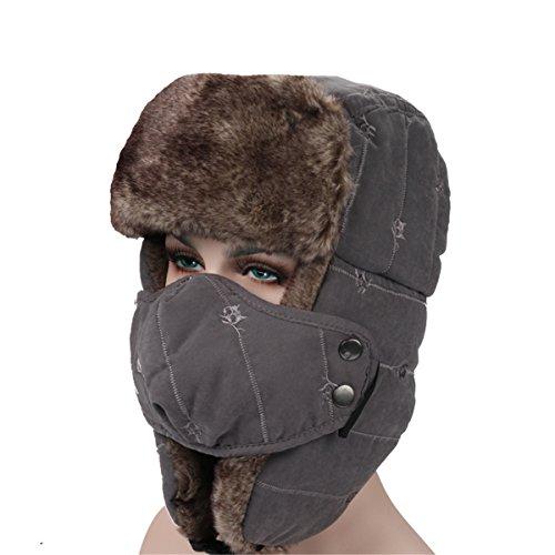 ECYC® Unisexe Chapeau Trappeur Hiver Chaud en Fausse Fourrure Coupe-Vent avec Masque Facial, Gris