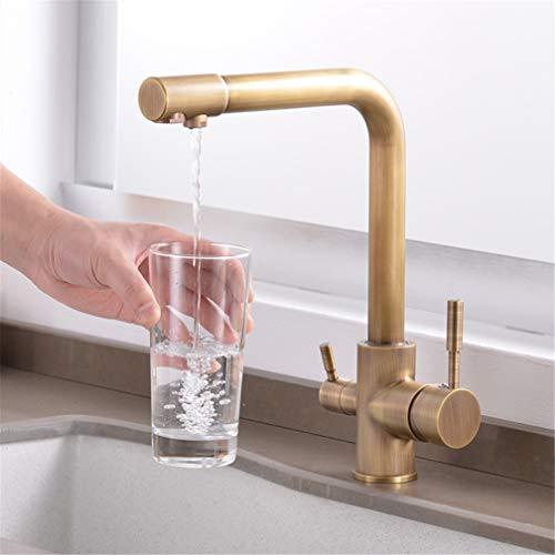 YAWEDA antieke messing keukenkraan drinkwaterfilter waterkraan spoelbak mengkraan 360 ° draaibaar dubbele greep dek gemonteerd filterkraan voor keuken 3-weg retro stijl