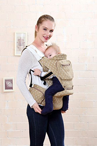BBWW All Seasons 6-in-1 Classic Baby/Child Carrier and Sling with Hip Seat/Stool for Infant&Toddler,Ergonomic and 100% Cotton w/Cool Mesh,Baby Shower Gift!