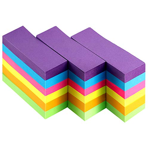 Sticky Notes, 6 Bright Colors Stickies, Colorful Lined Self-Sticky Note Pads for Home School Office (18 Pads, 1 x 3 Inch)