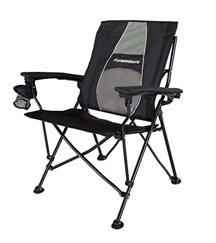STRONGBACK Elite Folding Camping Chair with Lumbar Support, Black