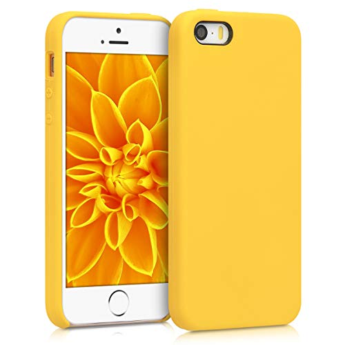 kwmobile Funda Compatible con Apple iPhone SE (1.Gen 2016) / 5 / 5S - Funda Carcasa de TPU para móvil - Cover Trasero en amarilo Brillante