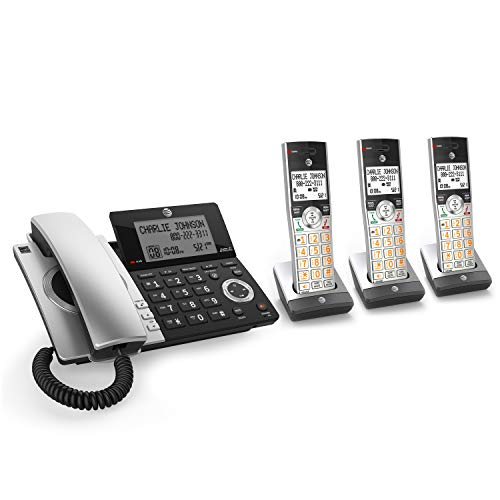 AT&T CL84307 Dect 6.0 Expandable Corded/Cordless Phone with Smart Call Blocker, Silver/Black with 3 Handsets