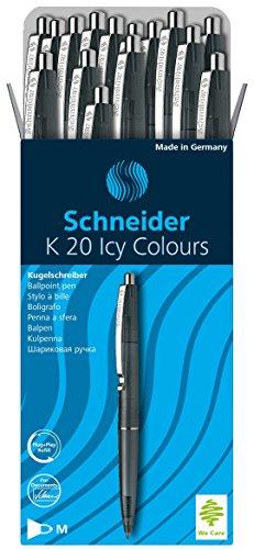 Schneider K20 Icy Colours Kugelschreiber (Schreibfarbe: schwarz, Strichstärke M, dokumentenechte Mine, Druckmechanik) 20er Packung, schwarz