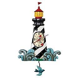 Allen Designs P1854 Augie's Light Whimsical Lighthouse Pendulum Wall Clock