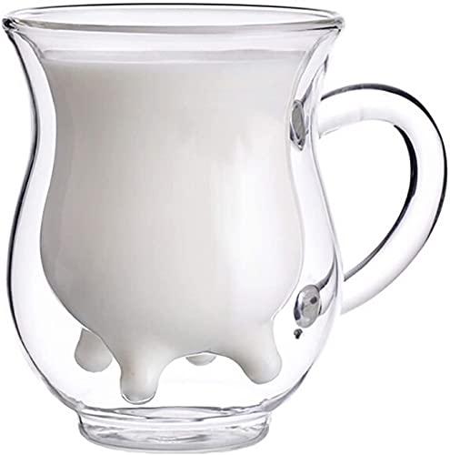 Taza de leche de vidrio de doble pared de Balalala, regalos hermosos creativos Taza de cristal de cristal de cristal de doble capa 3D - botella de leche de crema de crema de crema de crema en forma de