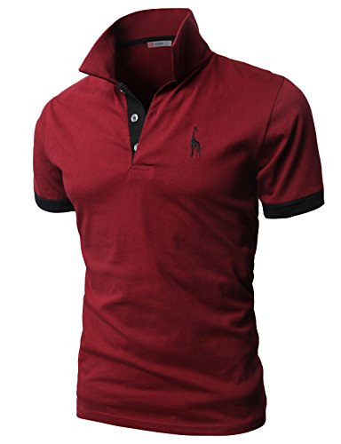 H2H Mens Fine Cotton Giraffe Polo Shirts of Various Colors WINE US L/Asia 3XL (JDSK36)