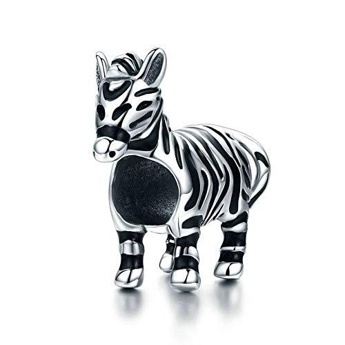 925 zilveren hangers voor dames, persoonlijkheid, moderne kettingloos zwart en wit gestreepte Zebra koptelefoon vorm bedelhanger voor dames sieraden cadeau