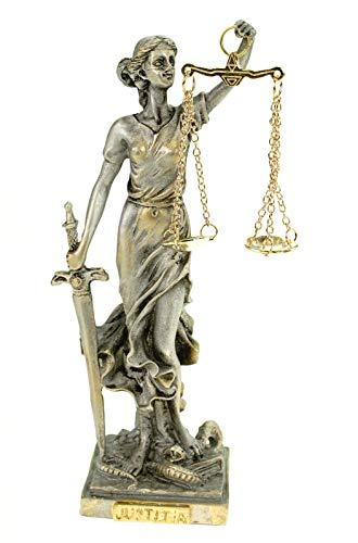 Kremers Schatzkiste Alabaster Justitia Göttin Figur 17 cm Skulptur Themis BGB Recht Gerechtigkeit Silber